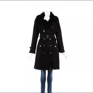 Burberry Black Suede Shearling Coat Belted UK10